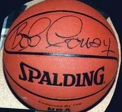 Bob Cousy autographed NBA indoor/outdoor basketball