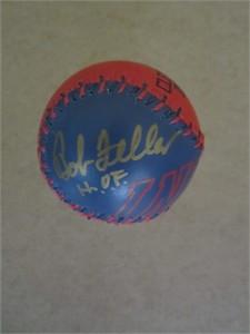 Bob Feller autographed Cleveland Indians baseball inscribed H.O.F.