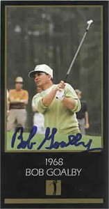 Bob Goalby autographed 1968 Masters Champion golf card
