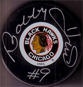 Bobby Hull autographed Chicago Blackhawks puck