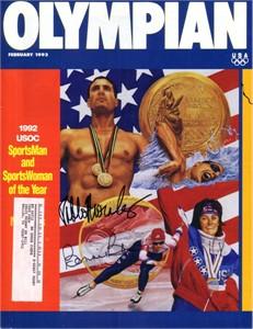 Bonnie Blair & Pablo Morales autographed 1993 Olympian magazine cover