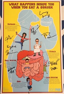 Bob's Burgers cast autographed 2017 Comic-Con poster (H. Jon Benjamin Dan Mintz Eugene Mirman John Roberts Kristen Schaal)
