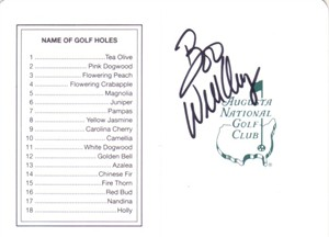 Boo Weekley autographed Augusta National Masters scorecard