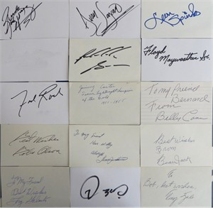 15 autographed boxing index cards (Riddick Bowe Billy Conn Oscar De La Hoya Tony Galento Freddie Roach Leon Spinks Tony Zale)