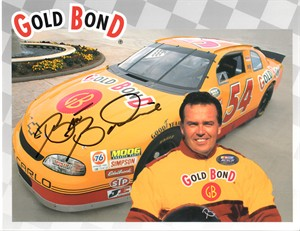 Brett Bodine autographed Gold Bond NASCAR photo card