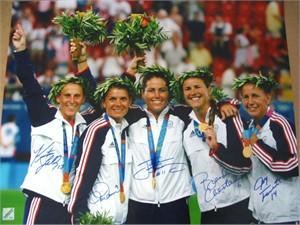 Mia Hamm Brandi Chastain Joy Fawcett Julie Foudy Kristine Lilly autographed 2004 U.S. Olympic 16x20 poster size photo (#/91)