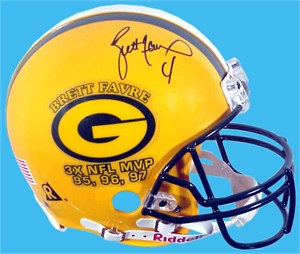 Brett Favre autographed Green Bay Packers 3X NFL MVP full size game helmet #2/97 (Mounted Memories)
