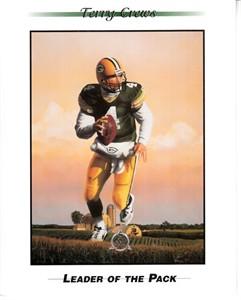 Brett Favre Leader of the Pack 1997 Sierra Sun 4x5 inch promo card (Terry Crews artwork)