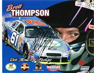 Brett Thompson autographed NASCAR 8x10 photo card