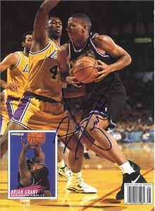 Brian Grant autographed Sacramento Kings Beckett Basketball back cover
