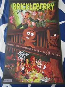 Brickleberry cast autographed 2014 Comic-Con poster (David Herman Tom Kenny Jerry Minor Natasha Leggero)