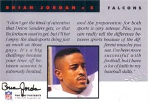 Brian Jordan certified autograph Atlanta Falcons 1992 Pro Line card