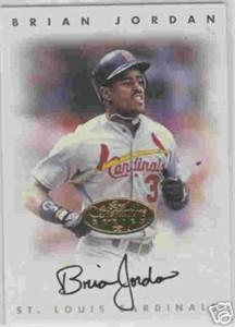 Brian Jordan certified autograph 1996 Leaf Signature card