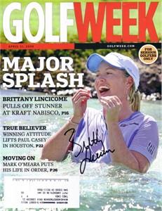 Brittany Lincicome autographed 2009 Kraft Nabisco Championship Golf Week magazine