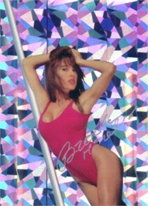 Brooke Morales autographed Bench Warmer swimsuit prism card