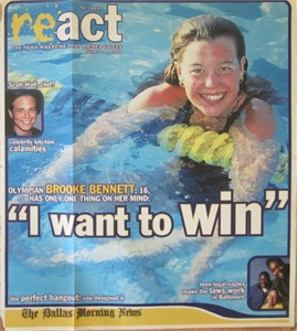 Brooke Bennett autographed 1996 Olympics React swimming magazine cover