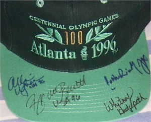 Brooke Bennett Catherine Fox Whitney Hedgepeth Allison Wagner (swimming) autographed 1996 Olympics cap