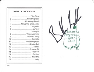 Brooks Koepka autographed Augusta National Masters scorecard