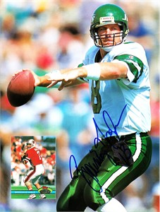Browning Nagle autographed New York Jets Beckett football magazine back cover photo