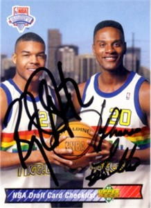 Bryant Stith & LaPhonso Ellis autographed Denver Nuggets 1992-93 Upper Deck card