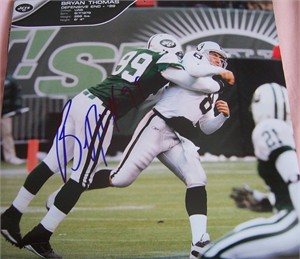 Bryan Thomas autographed New York Jets calendar page