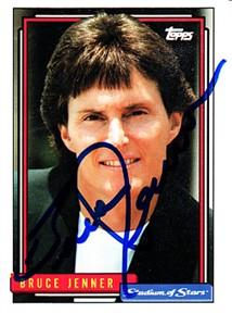 Bruce Jenner autographed 1992 Topps Stadium of Stars promo card