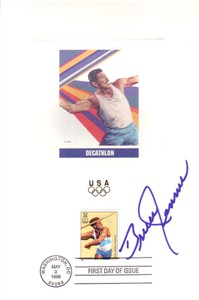 Bruce Jenner autographed decathlon 1996 Olympic USPS First Day of Issue souvenir card sheet