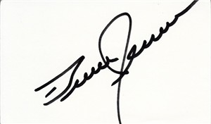 Bruce Jenner autographed index card