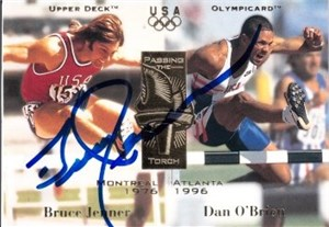 Bruce Jenner autographed 1996 Olympic card