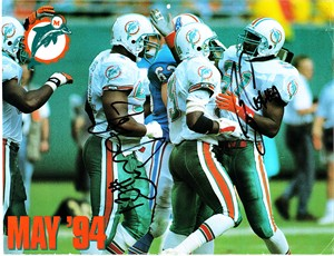 Bryan Cox & Jeff Cross autographed Miami Dolphins 1993-1994 calendar page