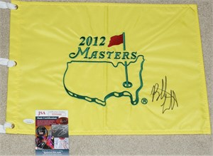 Bubba Watson autographed 2012 Masters golf pin flag
