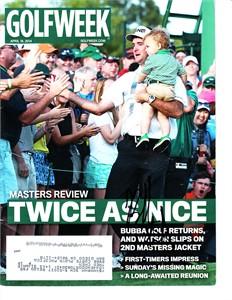 Bubba Watson autographed 2012 Masters green jacket Golf World magazine