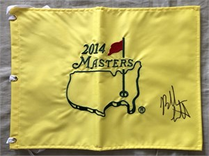 Bubba Watson autographed 2014 Masters golf pin flag