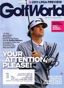 Bubba Watson autographed 2011 Golf World magazine