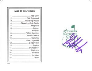 Bubba Watson autographed Augusta National Masters scorecard