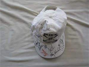 Buick Invitational golf cap or hat autographed by 11 PGA Tour players (Rich Beem Stewart Cink Zach Johnson Matt Kuchar Ian Poulter Bob Tway)