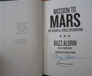Buzz Aldrin autographed Mission to Mars hardcover book