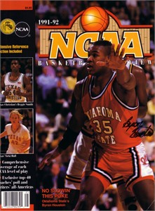 Byron Houston autographed Oklahoma State Cowboys 1991-92 NCAA Preview magazine cover