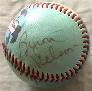 Byron Nelson autographed baseball with vintage golf artwork