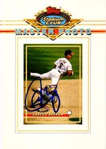 Carlos Baerga autographed Cleveland Indians 1993 Stadium Club 5x7 Master Photo
