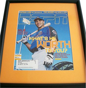 Carlos Beltran autographed New York Mets ESPN Magazine cover matted & framed