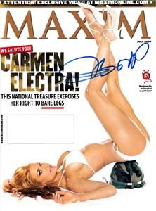 Carmen Electra autographed 2003 FHM magazine bikini cover