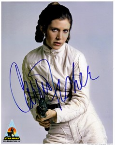 Carrie Fisher autographed 8x10 Star Wars Princess Leia photo with blaster rifle