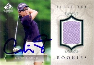 Candie Kung autographed 2004 SP Signature golf tournament worn shirt card
