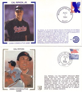 Cal Ripken 2000 Consecutive Games 1994 Baltimore Orioles cachet set