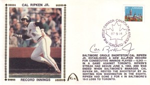 Cal Ripken autographed Baltimore Orioles 1987 consecutive innings record Gateway cachet envelope