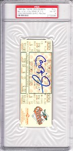 Cal Ripken autographed Consecutive Game 2131 full ticket PSA/DNA graded PSA 8