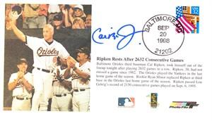 Cal Ripken autographed Baltimore Orioles 2632 Consecutive Games cachet envelope