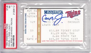Cal Ripken autographed 2000th Consecutive Game ticket PSA/DNA graded PSA 7