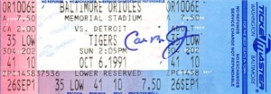 Cal Ripken autographed Baltimore Orioles Memorial Stadium last game ticket